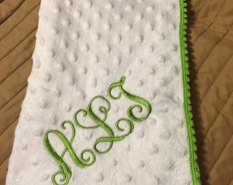 Babies monogrammed blanket personilized blanket wrap