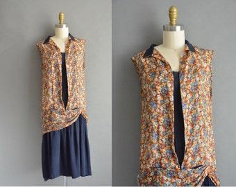 20s floral chiffon vintage flapper dress / vintage 1920s dress