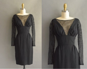 vintage 1950s dress / 50s sexy low cute black fishnet vintage cocktail dress