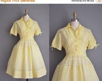 Anniversary SHOP SALE... vintage 1950s dress / yellow cotton lace dress / 50s shirt dress