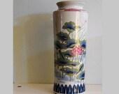 """Imari Style 12"""" Tall Porcelain Flower Vase Marked Japan"""