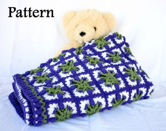 Crochet afghan PDF PATTERN tulips granny squares throw blanket spring coverlet couch home decor bedding lap covering floral feminine