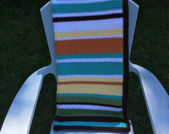 Striped crochet blanket