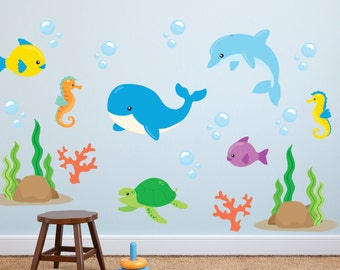 Fish Wall Decals - Ocean Wall Decals - Ocean Fabric Wall Decals - Sea Life Wall Decals - Fish Decals - Ocean Life Wall Decals