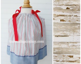 Fourth of July Dress Pillowcase Dress Patriotic Outfit - Size 12 month dress (GW817) - Patriotic Dress FREE CLIP