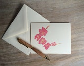Pink Blossom - Cherry blossom - flower - note card set - artist watercolor
