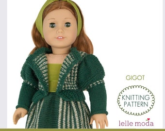 Knitting Pattern -  for American Girl Dolls - Gigot Sleeve Cradigan - 18 inch Doll Clothes - Historical Doll Clothes Pattern