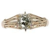 Valentines Sales Victorian antique diamond ring with big cushion cut old mine cut diamond