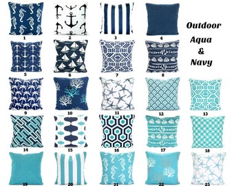 OUTDOOR Aqua Navy Pillow Covers, Beach Decor, Nautical Cushions, Aqua Navy  White Nautical