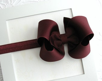 Maroon Bow Headband, Baby Headband, School Uniform Bow Headband