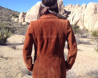 Vintage 60's 70's Rust Suede Leather Jacket / Pintuck Stitching Fitted Womens Coat / Boho Hippie XS S