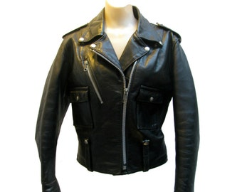 AMF Harley Davidson Cycle Queen Motorcycle Jacket Vintage 1970s Womens Black Leather Biker Jacket Size 38 Will Fit a Wmns Size Medium