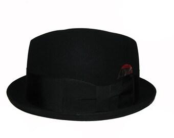 Vintage Dobbs Stingy Brim Hat Mens Black Fur Felt Rude Boy Fedora Hat Mns US Size 7 1/8 Fits Size Medium