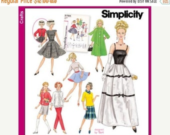 ON SALE Doll Clothes Pattern - Simplicity 5785 - Simplicity Archives Vintage Reproduction Pattern For 11 1/2 Inch Barbie Dolls - One Size Pa