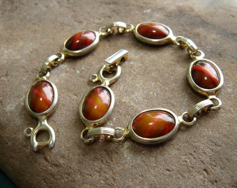 Vintage Sarah Coventry Wood Nymph Link Bracelet - Art Glass - Gold Tone - 1960s