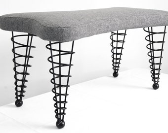 Modern Upholstered Bench, from Spiral Cone Legs