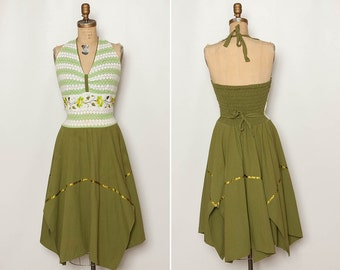 vintage green halter dress with embroidered crocheted lace and handkerchief skirt
