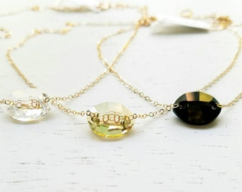 Oval Sparkle Necklace - swarovski crystal gem stone black clear lemon lime gold filled or sterling silver simple handcrafted jewelry gift
