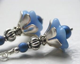 Cornflower Blue Flower Earrings in Silver
