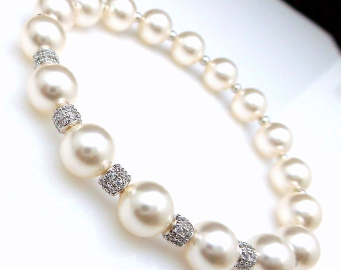 bridal jewelry wedding bridal bracelet 8mm Swarovski white round crystal pearl clear white cubic zirconia rondelle spacer stretch bracelet