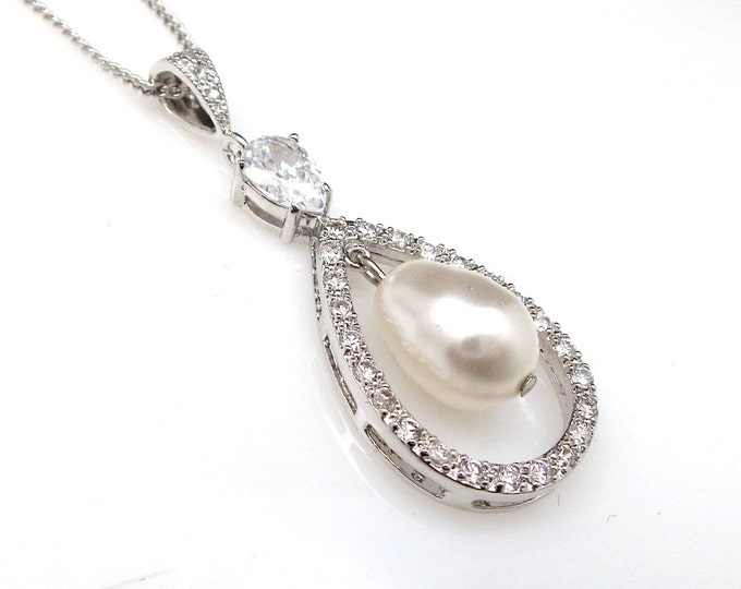wedding jewelry bridal necklace swarovski pear pearl teardrop white gold plated cubic zirconia teadrop necklace with sterling silver chain