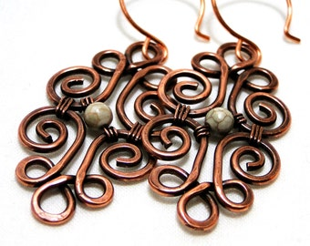 Wire Jewelry, Howlite, Motif Design, Antiqued Copper Jewelry, Wire Wrapped Earrings