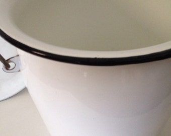 Vintage enamelware pot jug vase pitcher w lid extra large xxl home decor farm house