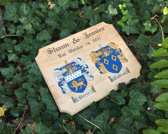 Double Coat of Arms, Couples, Wood Burned, Hand Painted