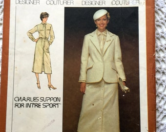 Vintage 1970s Skirt Suit Sewing Pattern - Size 6 & 8 - Simplicity 8853 Misses Skirt, Shirt and Lined Jacket