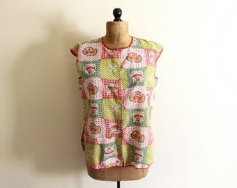 vintage  apron 60s smock womens clothing folk floral print patchwork 1960s size m medium