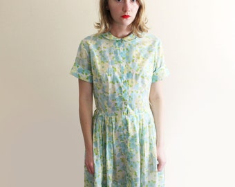 vintage dress 1950s blue mint green floral print house 50s size small s