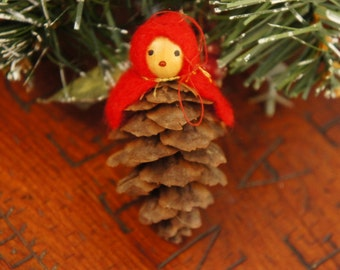Vintage 70s Pine Cone Gnome Christmas Ornament Retro Folk Art Holiday Decor collectible