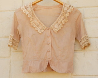 Vintage antique Victorian Edwardian Lace Trim Peplum Blouse Collectible Shabby Chic