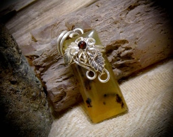 Oregon Fire Opal Silver Wire Wrapped Stone Pendant