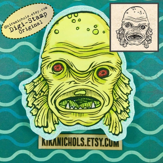 Swamp thing digital stamp monster digital stamp digistamp coloring pages printable sticker clip art printables from kiranichols on etsy studio