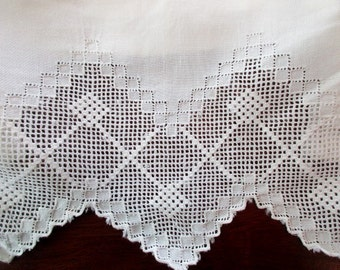 antique white linen PILLOWCASE -  handmade lace