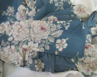 Martex king sham - cotton, flowers, blue, ruffles
