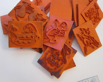 25 ANiMAL stamps - childrens' rubber stamps - snake, bird, lion, dog, cat, and more