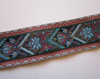 vintage woven ribbon bty - Europa Imports - rayon/metallic - 1.5 inches