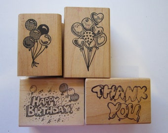 4 vintage rubber stamps - BALLOONS, happy birthday, thank you