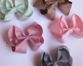 "Choose 6 Big 4"" Bow - Headband Hair clip bows - big bows - Neon- Dots - bow - toddler bows - 51 colors to choose - bow headband - ribbon bow"