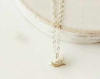 Free as a bird necklace -tiny bird -little gold bird necklace
