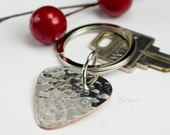 Guitar pick, guitar pick ring, handmade ring ring, keys, Dad gift, hand hammered guitar player gift, man gifts, groom gifts, I love you