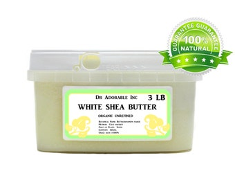 3 lb Raw Unrefined WHITE Shea Butter From Ghana
