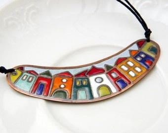 Hundertwasser - enamel necklace - colorful - house - town - color blocking