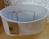Purse Organizer insert Shaper / WHITE / Sturdy / Size small wide oval / 11 x 5 x 6H / With stiff wipe-clean bottom / READY To SHIP