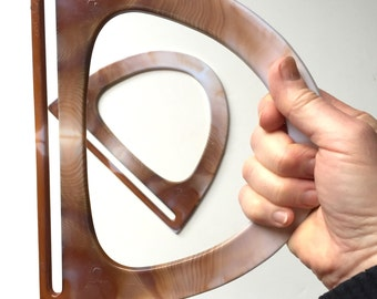 Retro Purse Handles - Pair of Resin Carpet Bag Handles - Plastic Pocketbook Handles