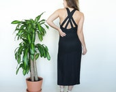 90s Linen Minimalist Criss Cross Midi Dress // sz S