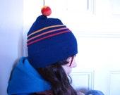 70s striped wool winter hat - blue ski cap with pompom
