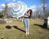 70s umbrella - blue and white parasol
